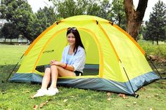 Camping Tent for 2 Persons Waterproof UV-resistant Outdoor Travel Beach Portable Yellow
