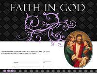 Faith in God Award Certificate