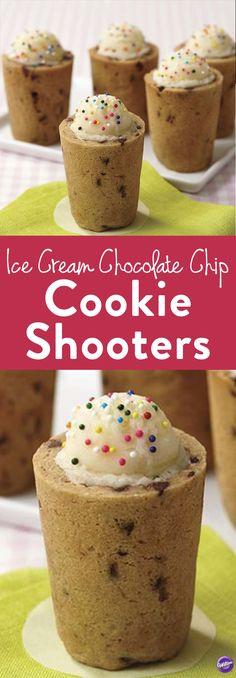 Ice Cream Chocolate Chip Cookie Shooter - Learn how to make these delicious ice cream chocolate chip cookie shooters that are refreshing to serve for summer parties! They make the perfect treats for movie nights, sleep overs, birthday parties, or just any time you want to treat yourself!