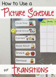 How to use a Picture Schedule for managing smooth transitions in your Preschool, Pre-K, or Kindergarten classroom.