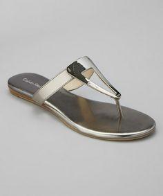 Love this Pewter Mirror Metallic Sadi Leather Sandal by Calvin Klein on #zulily! #zulilyfinds