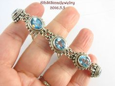 "Estate Sterling Silver 925 Sky Blue Topaz Bali Toggle Bracelet 7-1/2""long #BA #Tennis"