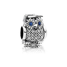 Just in time for graduation - the new Graduate Owl Pandora charm! PANDORA | Owl silver charm with swiss blue crystal and cubic zirconia