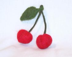 Felt Fruit - Needle Felted - Red Cherries - Life Size - Felt Cherry - Needlefelt Fruit - Soft Sculpture - Home Decor - Play Food