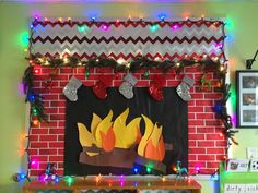 Happy Holidays Bulletin Board with working lights, Fake Fireplace decorated with items from @Target #mykindofholiday