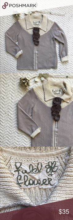 Anthropologie Field Flower cardigan Adorable gray/tan cardigan with brown knitted flowers on chest and a cute button on ends of sleeves from Anthropologie (Field Flower line). Size medium. Made of 100% cotton. In perfect condition Anthropologie Sweaters Cardigans