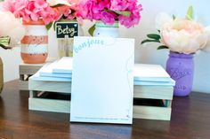 Personalized notepads make for great party favors that guests will love to take home.