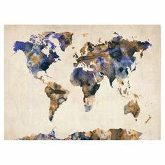 Bring gallery-worthy appeal to your walls with this artful canvas giclee print, showcasing a graphic world map motif.  Product: Canvas printConstruction Material: Canvas and woodFeatures:  Gallery-wrappedMade in the USA