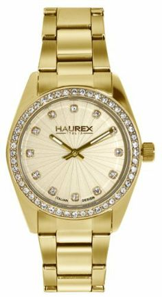 Haurex Italy Women's XY388DCC Narciso Gold Tone Stainless Steel Sunray Dial Swarovsi Watch Haurex. $600.00. Gold sunray dial with Swarovski stones. Bezel with natural crystals. Second hand feature. Water-resistant to 30 M (99 feet). Gold tone stainless steel case and link bracelet