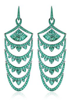 STEPHEN WEBSTER Detachable 18K White Gold And Black Rhodium Earrings With Pave Emeralds, These earrings by Stephen Webster x Gemfields feature cascading archs encrusted with glistening pave and baguette cut emeralds, set in 18K white gold and rhodium. (CONTEMPORARY)