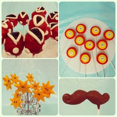 Chocolates estrella, bigotes. Oreo pops, cake pops