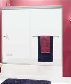 Shower Frameless bi-pass enclosure with thick glass, all … Contractors Wardrobe, Shower Enclosure, Shower Doors, Towel, Stall Shower, Towels