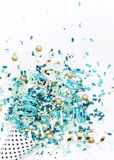 Styled Stock Photography | Blue, teal, white, & gold confetti party image | Styled Stock Photography for creative business owners. Blue, teal, white, & gold confetti image by SCstockshop Join the mailing list and get free styled stock images to your inbox every month: http://shaycochrane.com/sc-insider/
