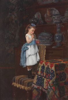 A Little Taste - Camille Léopold Cabaillot-Lassalle, Frankrijk Painting For Kids, Art For Kids, Munier, Girl Sign, Oil Portrait, National Gallery Of Art, Great Paintings, Art Themes, Art For Art Sake