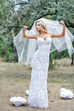 Irish crochet &: IRISH LACE WEDDING DRESS ROSE