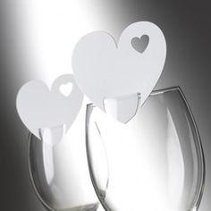 Plaatskaartjes op glas hart wit - 10 stuks