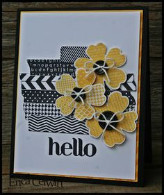handmade card ... stamped faux washi tape and flowers ... black and yellow on white ... great color combo ... big HELLO ...  Stampin' Up!
