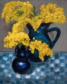 "Saatchi Art Artist Corinne Korda; Painting, ""Still Life With Mimosas"" #art"