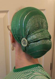 .Love this Green & Silver Head Scarf