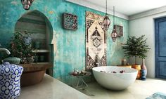 bathroom decorations bathroom furniture turquoise wall and wall hanging rug moroccan lanterns - Bathroom decorations 38 Super Beautiful Moroccan Bathrooms That are Really Among the Best - Almertine.com - Almertine Moroccan Rugs