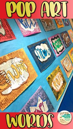 Onomatopoeia Pop Art Word Projects I love infusing literacy into my lessons whenever possible. This art lesson has students visually illustrating an onomatopoeia word in the Pop Art style of Roy Lichtenstein. Combine collage and printmaking in the form of Roy Lichtenstein, Collage Kunst, Collage Art, Collage Ideas, Collage Design, Classe D'art, 7 Arts, 6th Grade Art, 3rd Grade Art Lesson