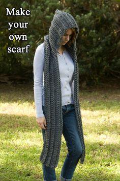 Para inspiración está muy lindo... nI dormida compro un patrón tan sencillo de hacer ! ... ... .... ... ... CROCHET PATTERN Hooded Scarf Pattern Crochet by WellRavelled, $4.00