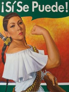 """Rosie the Riveter a Latina version said Valadez, who titled the artwork """"Rosita Adelita."""" Valadez chose to combine Rosie w/ La Adelita, fictional character from the Mex Rev b/c he says both are feminist archetypes that speak to the empowerment of women. Mexican American, American History, Mexican Revolution, Pin Up, Hispanic Heritage, Mexican Heritage, Indian Heritage, Rosie The Riveter, Chicano Art"""