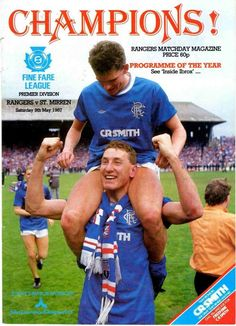 Rangers 1 St Mirren 0 in May 1987 at Ibrox. The programme cover #SPL