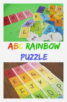 School Time Snippets: ABC Rainbow Puzzle Busy Bag. Pinned by SOS Inc. Resources. Follow all our boards at pinterest.com/sostherapy/ for therapy resources.