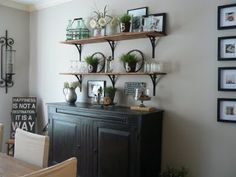 Dining Room Buffet...like the shelves over the buffet