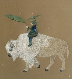 :: Sweet Illustrated Storytime :: Illustration of boy on a buffalo  Florencia Delboy