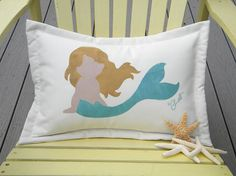 Little mermaid blonde indoor outdoor pillow 14x20 by crabbychris, $38.00  lok through all these- adorable!