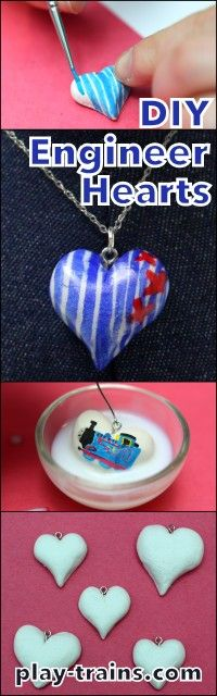DIY Engineer Heart Pendants and Ornaments:  hickory (railroad) striped hearts for train lovers.  Use them as pendants or Christmas ornaments.  Easy to make with air dry clay and watercolors.  @ Play Trains!