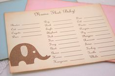 Name That Baby Animal Baby Shower Game Activity Cards Fill in the Blanks Vintage Elephant Pink, Blue, or Ivory Shower Party, Baby Shower Parties, Baby Showers, Shower Time, Party Party, Bridal Showers, Vintage Elephant, Pink Elephant, Kate Baby