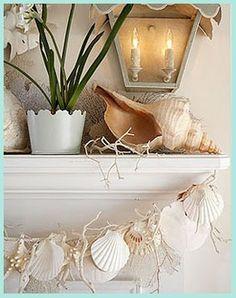 Coastal Style: An Aussie Beach Christmas - shell garland! Beach Crafts, Seashell Crafts, Coastal Style, Coastal Decor, Seaside Decor, Coastal Christmas Decor, Christmas Decorations, Seaside Style, Seaside Beach