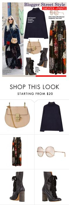 """""""Blogger inspiration: SWEATER AND PRINTS"""" by swweetalexutza ❤ liked on Polyvore featuring Chloé, women's clothing, women, female, woman, misses, juniors, GetTheLook, BloggersStyle and bloggerinspiration"""