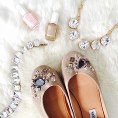 Steve Madden Shoes - Steve Madden Taupe Jewel Embellished Suede Flats