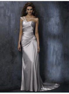 Sheath/Column One Shoulder Sweep/Brush Train Elastic Woven Satin Cheap Wedding Dresses