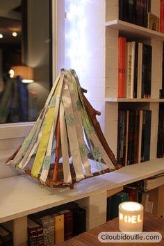Calendrier de l'Avent en bois et en rubans