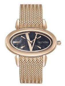 Valentino Women's V50SBQ5099S080 Signature Rose Gold Plated Oval Black Dial Watch Valentino Watches, Luxury Watches, Rolex Watches, Fashion Models, Fashion Brands, Valentino Women, Couture Collection, Rose Gold Plates, Gold Watch