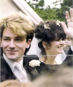 Bono and Ali Hewson on their wedding day, August 21, 1982