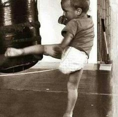 how i love to see my kid so soon practicing muay:)