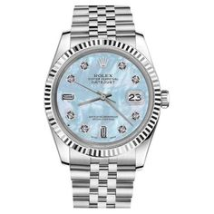 Pre-owned Rolex Datejust Baby Blue MOP Mother Of Pearl 8+2 Diamond... ($5,113) ❤ liked on Polyvore featuring jewelry, watches, dial watches, diamond jewellery, diamond jewelry, preowned jewelry and pre owned watches