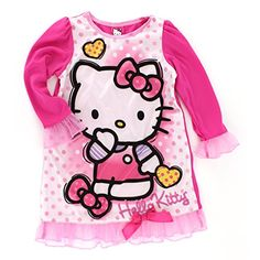 a64e643e6 Hello Kitty Girls Pink with Hearts and Dots - Long Sleeved Nightgown Dorm,  Little Girls Sizes 6 * & 10 Sanrio. Perfect for your little Valentine!