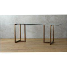 "silverado brass 80"" rectangular dining table | CB2"