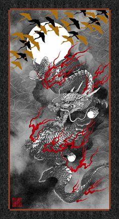 Kona Bay - **Dragon Moon - Dragon Panel - Black & Grey