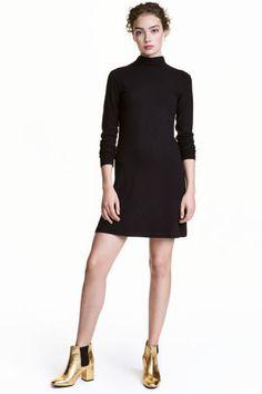 Ribbed jersey dress - Black - Ladies | H&M GB 1