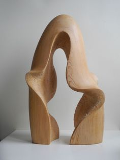 Wood sculpture Small / Little Abstract Contemporary Sculptures / statue by artist Nando Alvarez titled: 'Fountain in Wood (Carved Semi abstract Flowing Water Wave statuette)'