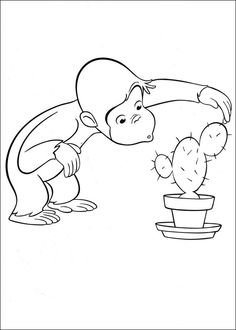 Curious George Coloring Page. Nysgjerrige Nils Fargelegging. Tegninger