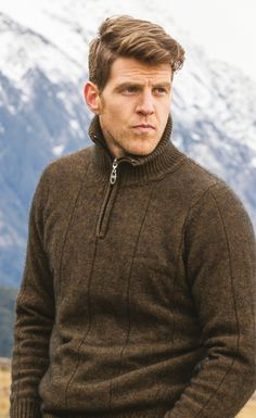 Brown jumper with zipped collar by Noble Wilde Olympia London, Aw17, Fashion Brands, Men Sweater, Mens Fashion, Pure Products, Sweaters, Stuff To Buy, Moda Masculina